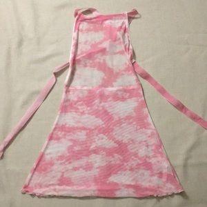 Dolls Kill pink mesh cloudscape minidress